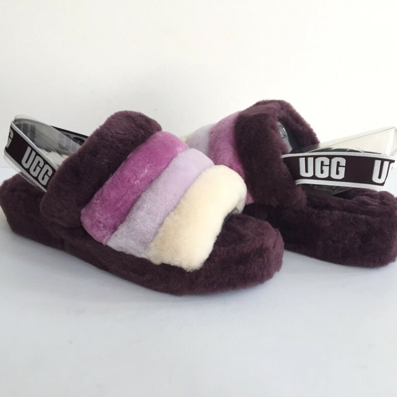 8abc7a27d0f UGG Fluff Yeah Slide Port Multi Fur Slippers Women NWT